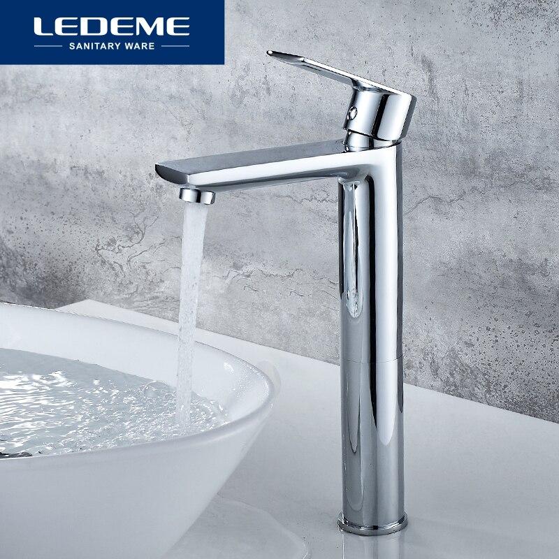 LEDEME Chrome Basin Faucets Deck Mounted Bathroom Sink Mixer Hot Cold Water Swive Spout Tap One Hole Bath Faucet Tpas L1055-22
